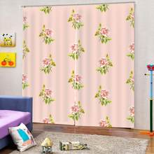 Pink flower curtains for girls room Curtain office Bedroom 3D Window Curtain Luxury living room decorate Cortina(China)