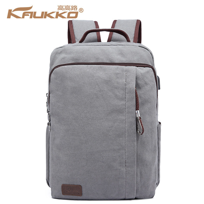 KAUKKO Men Business Backpack with External Charging Port Canvas School Bag for 14 inch Laptop Women Travel Daypack Black Gray 14 15 15 6 inch flax linen laptop notebook backpack bags case school backpack for travel shopping climbing men women
