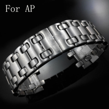 28MM Silver Men Full Stainless Steel Watch Strap Belt Butterfly Clasp Wacthband For AP Watch With