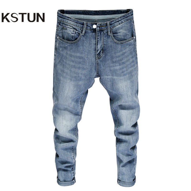 Good Quality Jeans for Men SKinny Cotton Solid Sky Blue Fashion Streetwear Denim Pants Men's Clothing Long Trousers Jean Hombre