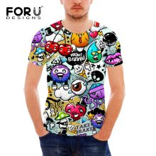 FORUDESIGNS Wholesale Interesting T-shirt Free Style Design Elastic Colorful Graffiti Shirts Man Funny Tee Shirt Toops S-XXL(China)