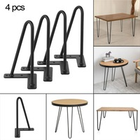 4 PCS 10mm Tube Hairpin Table Legs Steel Durable 8 12 16 Inch Replacement Leg Solid Color Furniture Parts