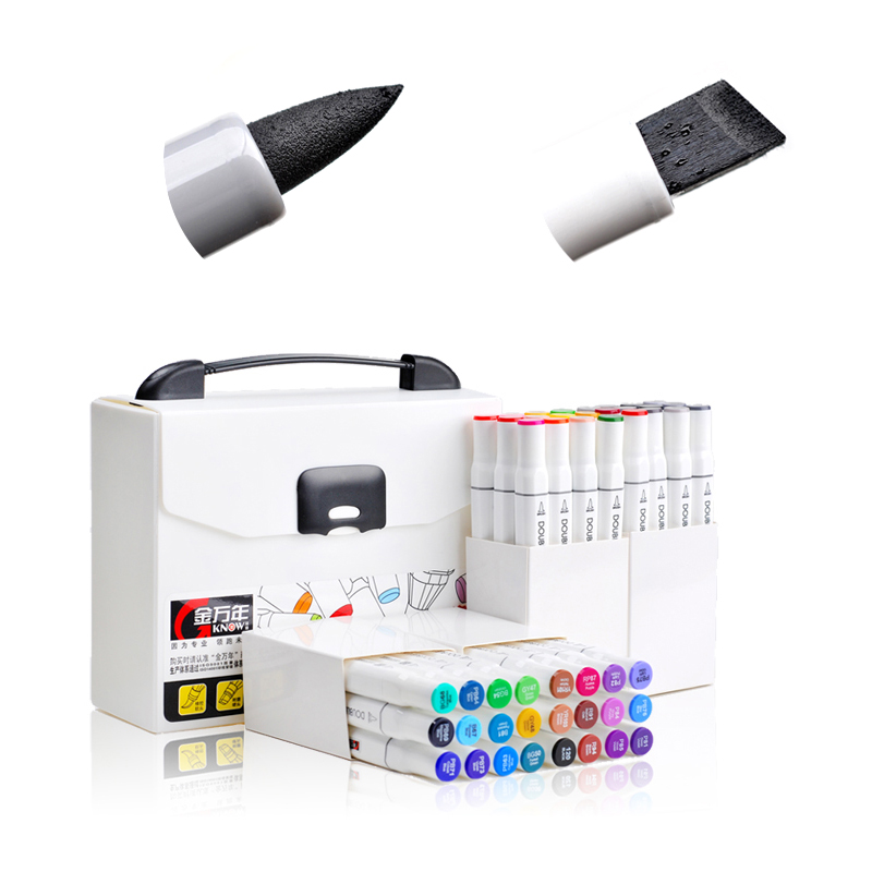 High Quality Arts Supplies Chisel and Brush Dual Twin Tip Brush Art Markers Art Graphic Design