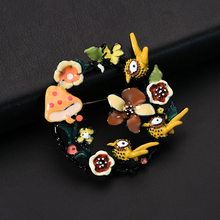 D&Rui Jewelry 2019 Romantic Flower Garland Brooches & Pins Charm Enamel Birds Mushroom Brooch Hijab Pin Clothing for Women Badge