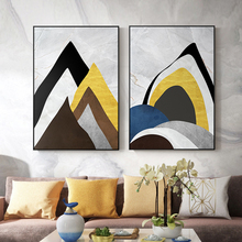 купить Abstract Gold Mountain View Bright Color Blocks Landscape Poster And Print For Living Room Aisle Study Bedroom Modern Home Decor онлайн
