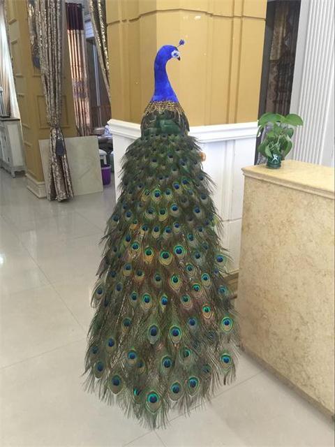 $ US $203.49 beautiful feathers simulation peacock model large 150cm peacock bird handicraft prop,home garden decoration gift p2042