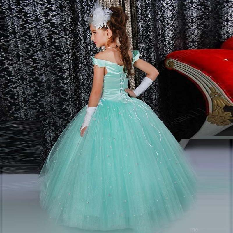 c19b10e5ef0f1 Sparkly Mint Green Flower Girl Dresses Bead Appliques Vintage Off Shoulder  Fluffy Tulle Cute Girl Pageant Dress Vestido infantil-in Flower Girl Dresses  from ...