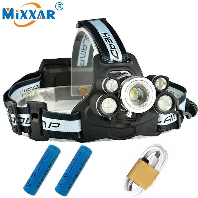 Motion Sensor USB Rechargeable LED Headlamp Headlight 4T6+2COB Head Lamp Light