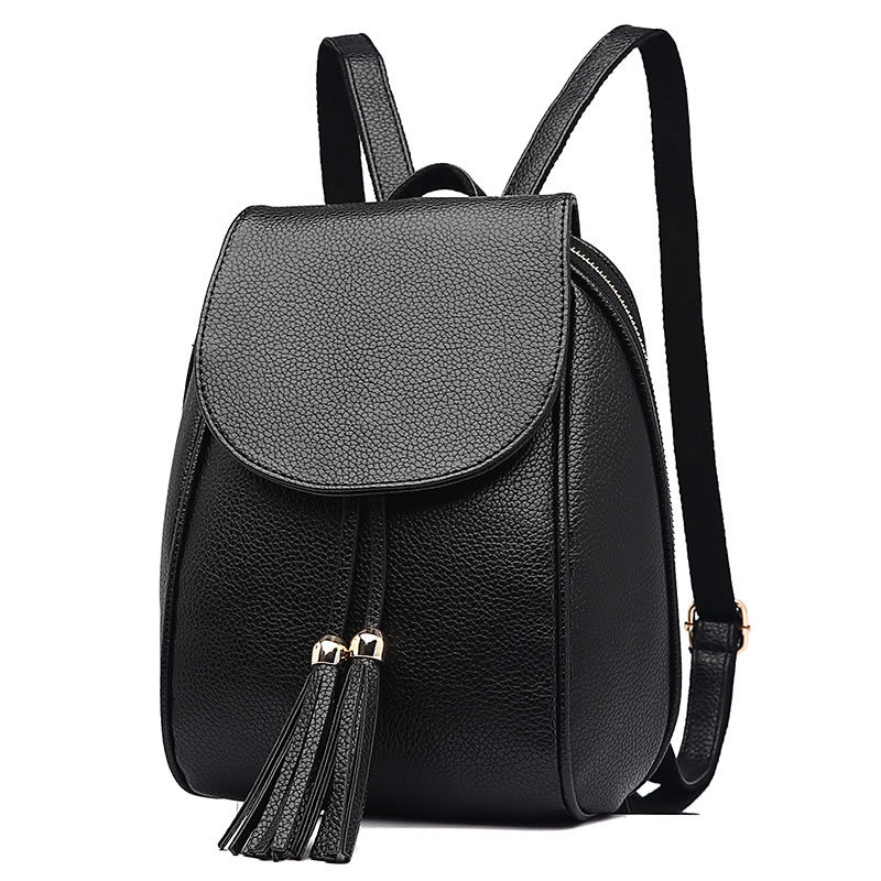 Women's Preppy Style Backpack Simple Color Tassel Bag Female PU Leather School Backpacks For Teenage Girls Rucksack Shoulder Bag bolish pu leather women female backpack preppy style girls school bag larger size travel rucksack black color ladies daypack