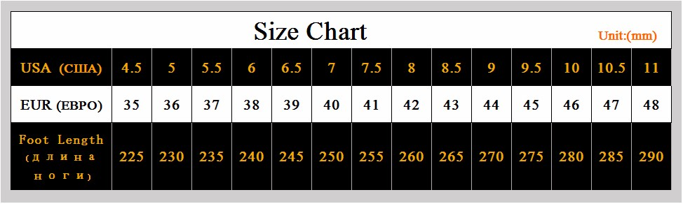 new shoes size chart