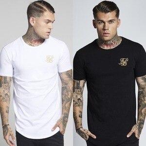 Marca de hombres de moda Kanye West, camiseta de seda Sik bordada, camisetas de manga corta informales de Hip Hop con dobladillo curvado Irregular para hombre