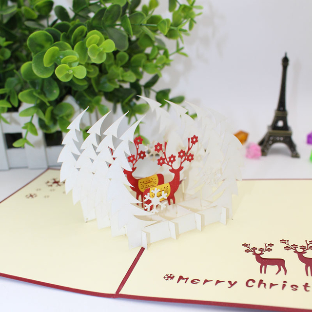 2 kinds 3d laser cut handmade christmas tree reindeer paper invitation greeting cards postcard new year