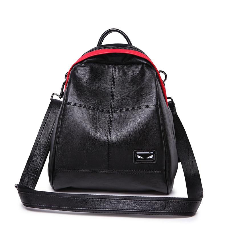 Fashion Exquisite stitching monsters decoration teardrop-shaped soft sheepskin backpacks for teenage girls travel bag цена