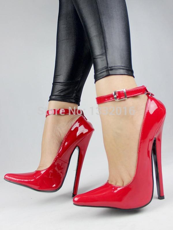 "2015 Extreme high heel 18cm PU Shiny 7"" heel Sexy fetish High Heel ..."