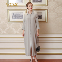 VOA Silk Gray Women Work T Shirt Dresses Long Sleeves Solid Ankle Length Turn Down Collar