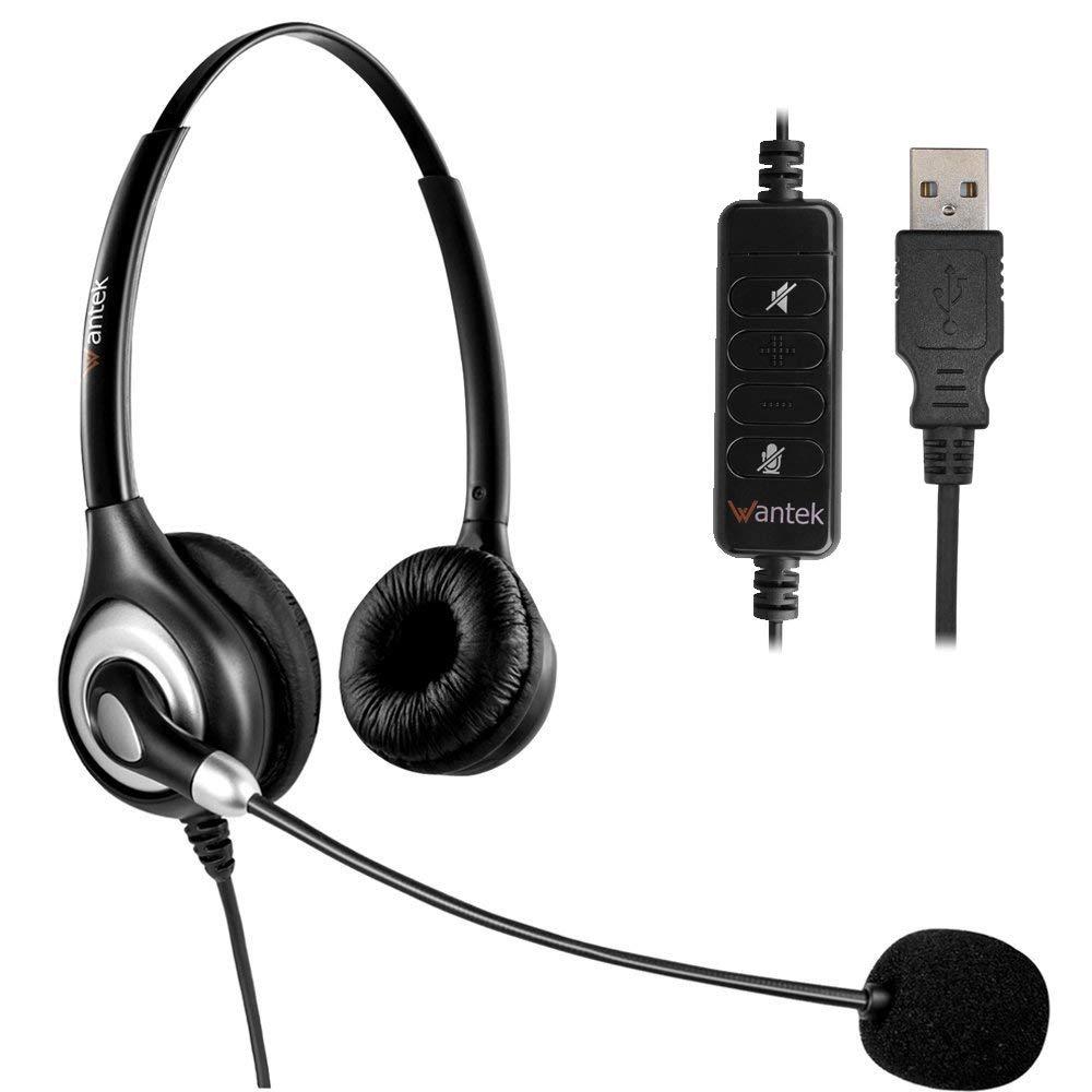 Wantek USB Computador Fone De Ouvido com Cancelamento de Ruído de Microfone, Fones de Ouvido Com Fio, Negócios Fone De Ouvido para Skype, Telefone VOIP, call Center