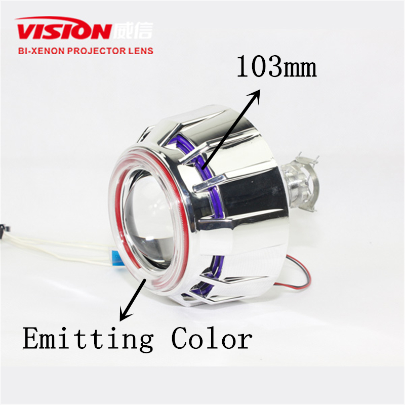 Free Shipping IPHCAR Car Styling Purple Angel Eyes Automotive Hid Bi Xenon Projector Lens for Car and Moto H1 H7 H11 9005 9006