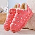 Новый 2016 женщины снег сапоги толстые плюшевые зима теплая обувь мода поскользнуться на плоские водонепроницаемый женщин ботинки хлопка мягкая обувь