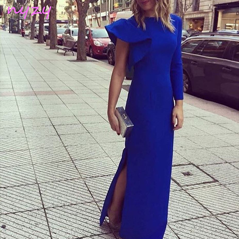 NYZY C29 One Shoulder Long Sleeve   Cocktail     Dress   2019 Side Slit Royal Blue Robe Longue Wedding Guest Party Evening Gowns