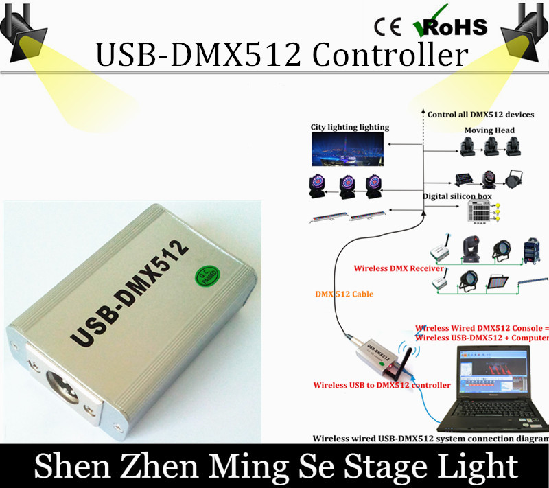 Multi Function High Speed USB DMX512 FreeStyler Software,USB DMX512 Controller,USB-DMX512 Controller,3D Computer Controller usb dmx512 controller computer connect with usb control led lamps dmx512 channels input output support windows xp 2000 98se sys