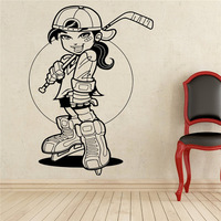 New Arrival Free Shipping Hockey Player Wall Decal Sport Vinyl Sticker Wall Decor Removable Waterproof Decal