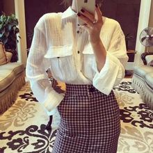 Blusas Direct Selling Regular Women Shirts 2017 Autumn New Fold Sleeves Loose Shirt Women Cotton And Lapel Double Pocket Female