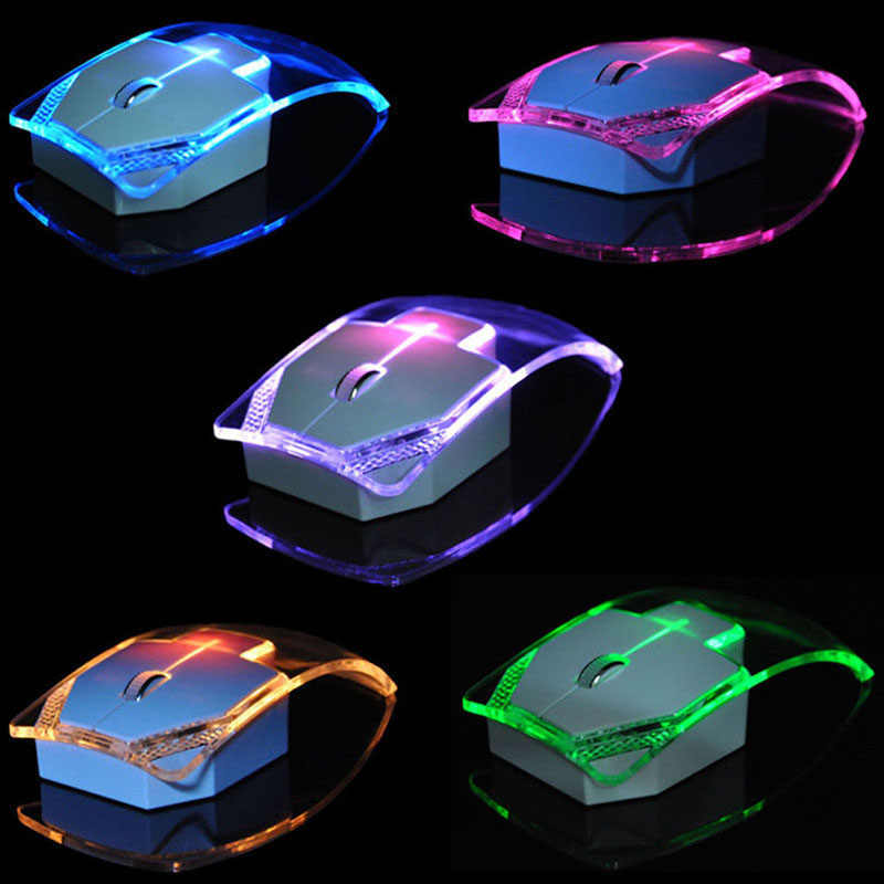 Etmakit 2.4GHz Wireless Mouse Transparent Ultra Thin Luminous Optical Mice for PC Laptop NK-Shopping