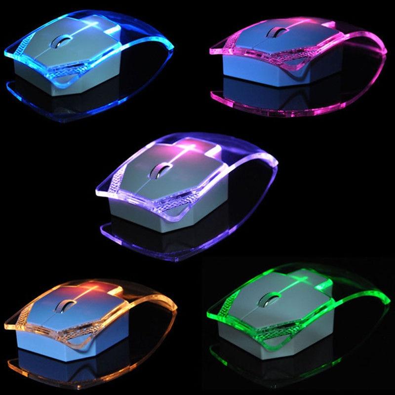 Etmakit 2.4GHz Wireless Mouse Transparent Ultra Thin Luminous Optical Mice for PC Laptop NK-Shopping