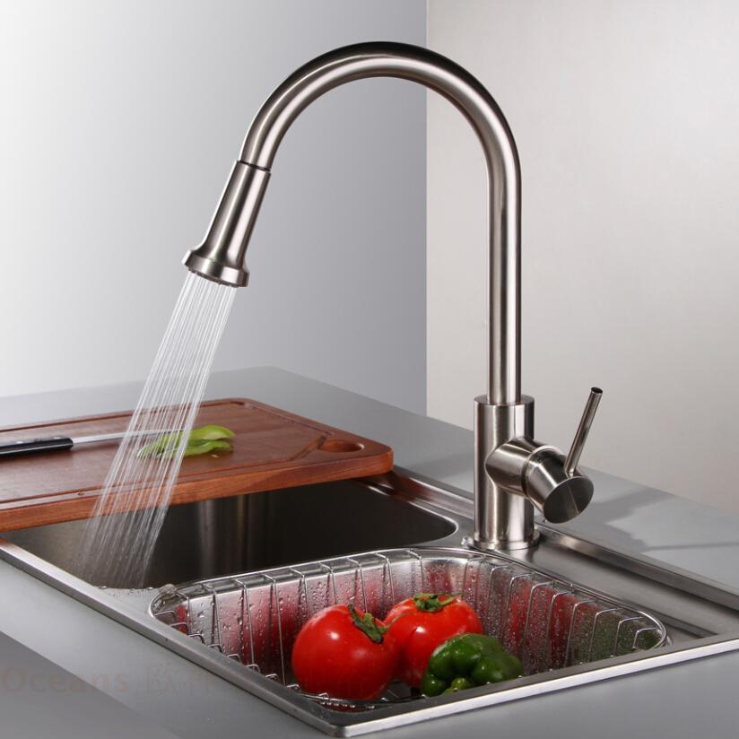 factory direct sales pull out kitchen faucet hot and cold vegetables basin full copper wire