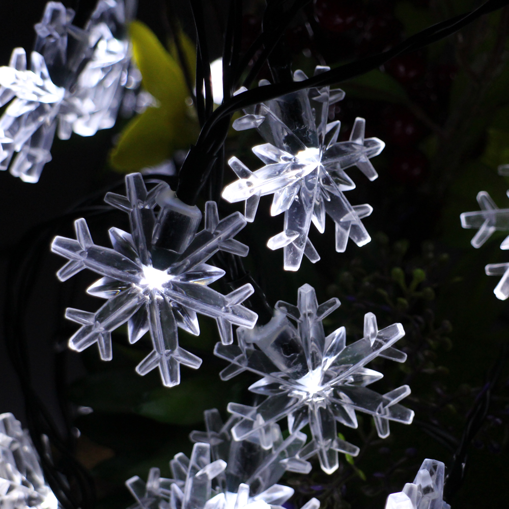 6m 30leds Battery Operated LED Snowflake String Lights Waterproof Christmas Fairy Lights Wedding Party Garden Holiday Decoration