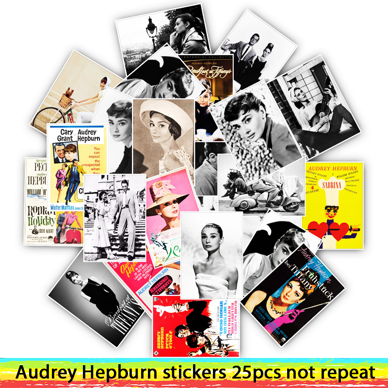 25pcs Audrey Hepburn Stickers For Skateboard Motorcycle Luggage Cool Funny Sticker Bomb JDM Decals