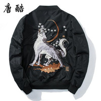 Tang cool 2018 spring high quality Chinese Snow Wolf Embroidered Baseball Jacket fashionable casual air force AM 1 pilot coat