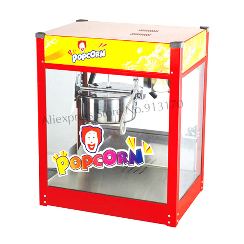 Commercial Popcorn Machine Flat-top Electric Corn Popper Stainless Steel Popcorn Pot Red Color with Heat Lamp 220V cukyi household electric multi function cooker 220v stainless steel colorful stew cook steam machine 5 in 1