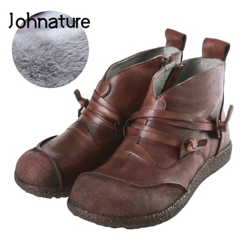 Johnature 2020 Winter New Genuine Leather Round Toe Casual Martin Ankle Boots Retro Zipper Flat With Solid Women Shoes
