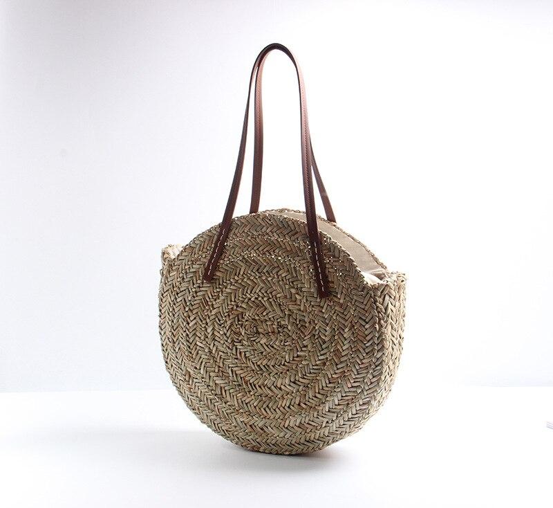 natural grande tote círculo bolsa moda