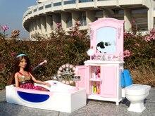 Genuíno para a princesa barbie banheira lavatório do banheiro móveis casa de boneca conjunto de 1/6 bjd acessórios da boneca de brinquedo de presente criança