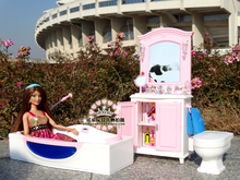 Mueble de baño auténtico para Princesa, bañera de barbie, juego de casa de muñecas, accesorios de muñeca, juguete infantil regalo bjd, 1/6