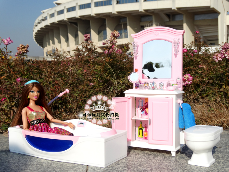 Genuine For Princess Bathroom Barbie Bath Tub Wash Basin Doll House Furniture Set 1/6 Bjd Doll Accessories Child Toy Gift
