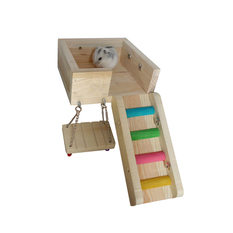 Petacc 3 in 1 Hamster Climbing Toy Wooden Hamster Ladder Pet Swing Toy for Hamster, Hedgehog, Guinea Pig and Bird