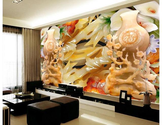 3d customized wallpaper wall 3d wallpaper jade carving vase ...