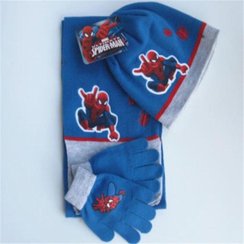 Baby Boys Children Spiderman Hats Glove scarf Set Cartoon Winter Knitted Caps