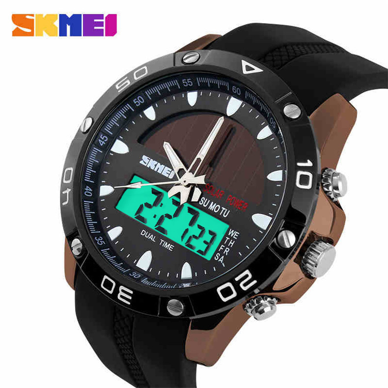 Buy skmei solar power energy men sports watches digital quartz watch relogio for Solar power watches