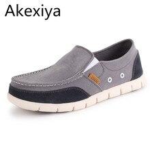 Akexiya 2017 hecho a mano de los hombres zapatos de los planos del hombre lona de la manera zapatos mocasines casuales hombres resbalón en los zapatos hombre