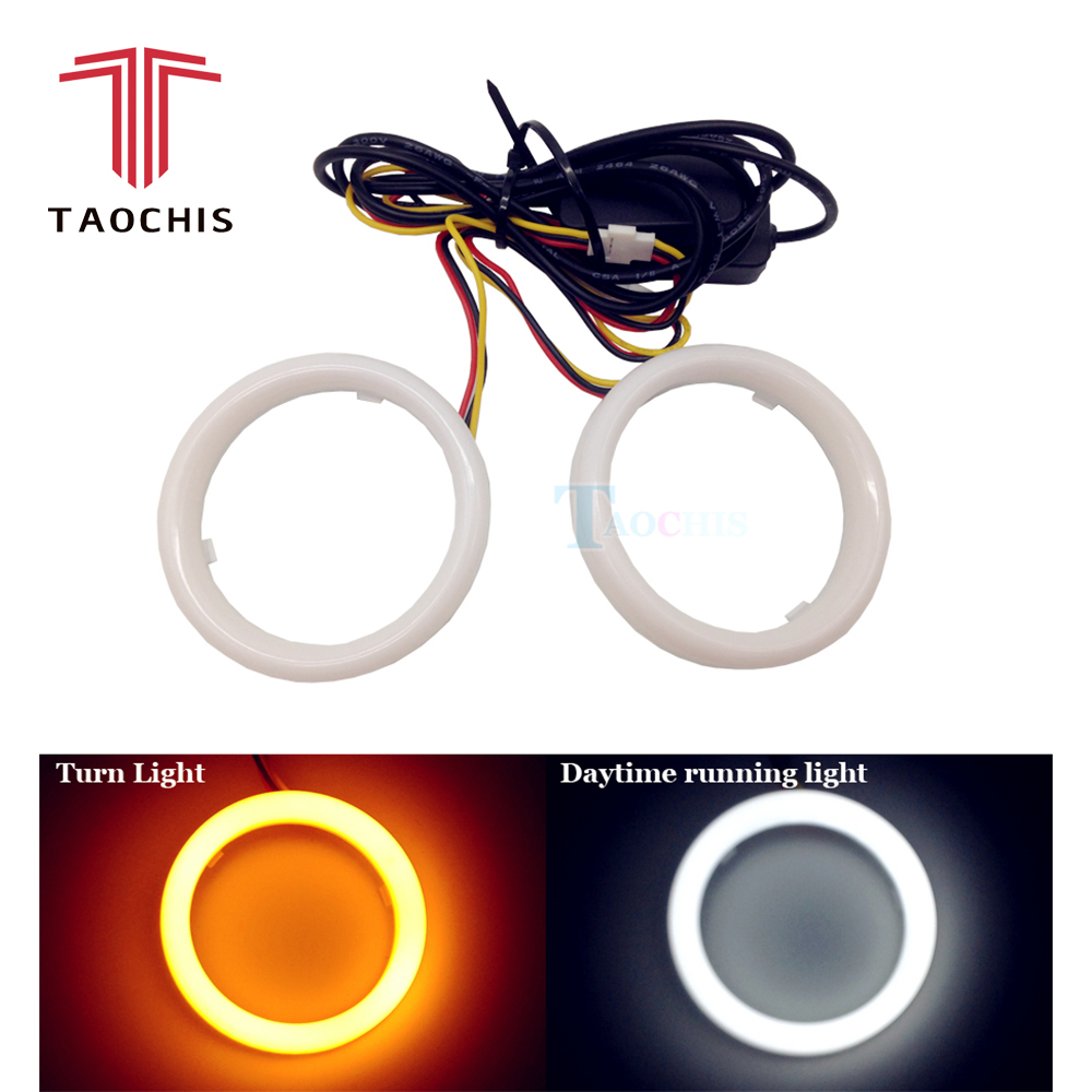 DIY Car styling LED COB Angel Eyes with Turn Light Signal Yellow White Cotton Waterproof Day time running dual colors Halo Rings 2x dual color cob led angel eyes 90mm angle eyes car styling daytime running light white
