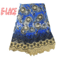 African Lace Fabric 2017 Embroidered Nigerian Laces Fabric Blue Color High Quality French Tulle Lace Fabric For Women  80d