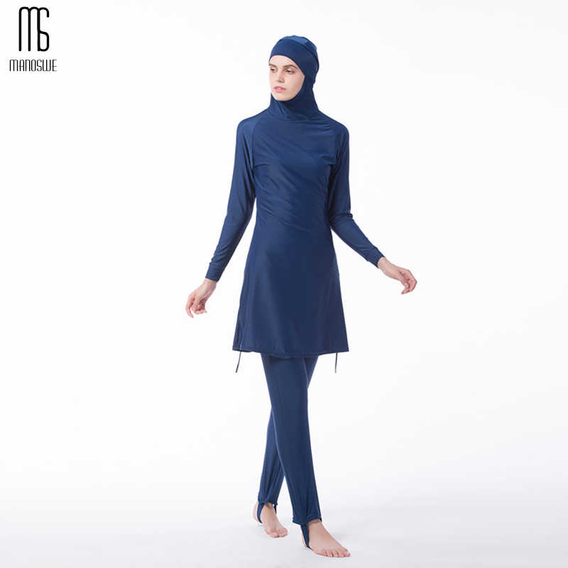 6f204b133c44f Manoswe Middle East Islamic Muslim swimwear Traditional Hijab Full Cover  Costume Fashion Solid Color Burkinis Swimsuit
