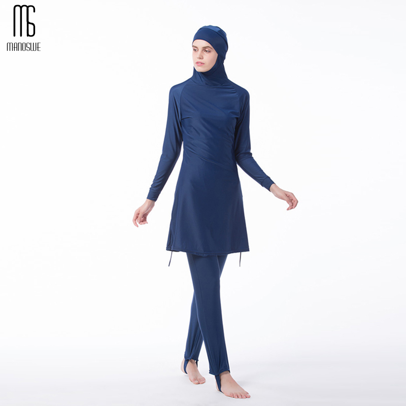 Manoswe Middle East Islamic Muslim swimwear Traditional Hijab Full Cover Costume Fashion Solid Color Burkinis Swimsuit For LadyManoswe Middle East Islamic Muslim swimwear Traditional Hijab Full Cover Costume Fashion Solid Color Burkinis Swimsuit For Lady