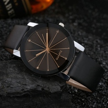 Luxury Brand Unisex Popular Quartz Stainless Steel Dial Leather Band Wrist Watch