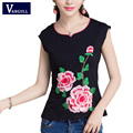 Ethnic Elegant Lotus Petal Embroidery T Shirt 2017 Fashion Summer New Cute Clothes For Women Large Size Casual Tops