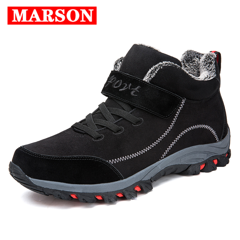 MARSON Winter Sneakers Middle-aged Warm Cotton Shoes Men Leather Tactical Boots With Fur Men's Outdoor Shoe Mountain Hiking Boot